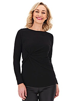 Black Twist Front Long Sleeve Top