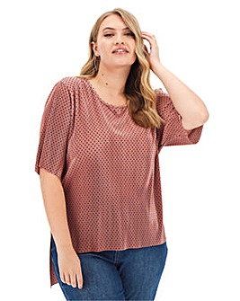 Pink Spot Plisse Stepped Hem Top