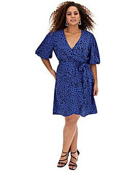 Blue Spot Puff Sleeve Skater Dress