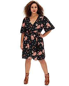 Floral Spot Puff Sleeve Skater Dress