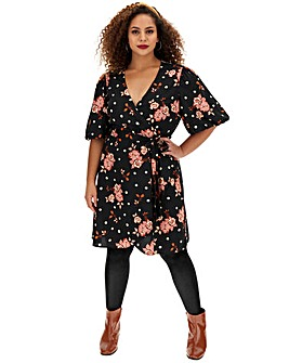 Floral Spot Puff Sleeve Skater Dress