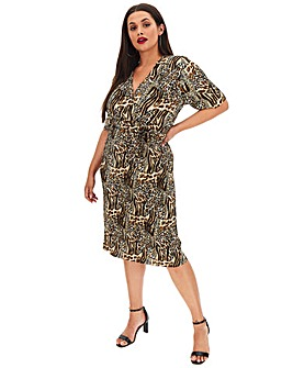Animal Print Plisse Wrap Midi Dress