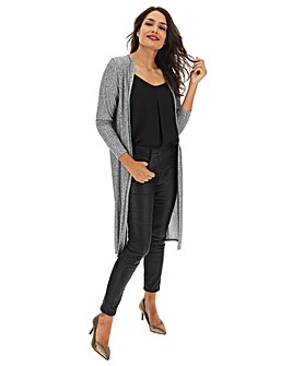 Grey Space Dye Ribbed Cardigan