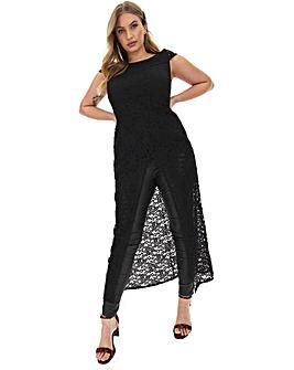 Black Lace Maxi Wrap Tunic
