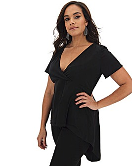 Black Dip Back Wrap Front Top