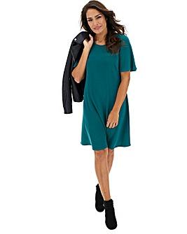 Green Short Sleeve Swing Dress