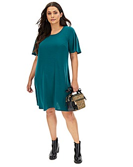 Green Short Sleeve Swing Dress