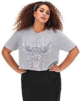 Grey Destiny Band Slogan Crop T Shirt