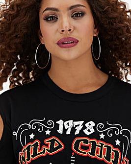 Black Cold Shoulder Detail Band T-Shirt