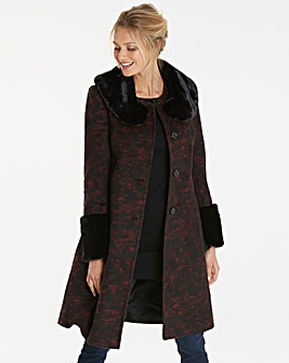 Helene Berman Faux Fur Trim Coat