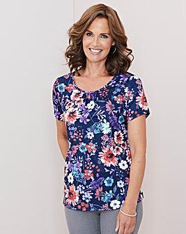 Julipa Navy Floral Print T Shirt