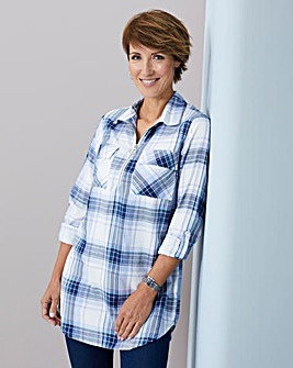 Julipa Lavender Soft Brushed Check Zip Tunic