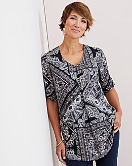 Julipa Black Multi Pleat Front Tunic