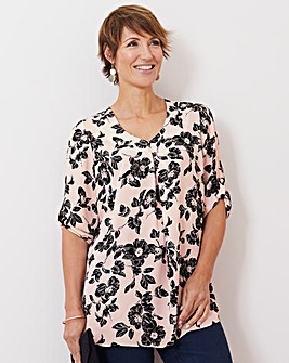 Julipa Pink Floral Pleat Front Tunic