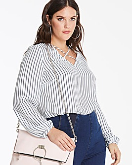 Ivory Stripe Cross Front Long Sleeve Top