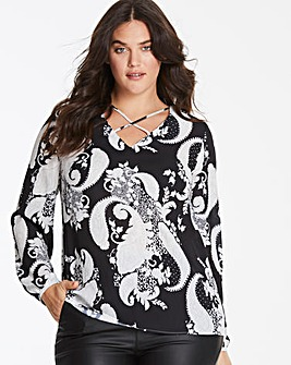 Ivory Print Cross Front Long Sleeve Top