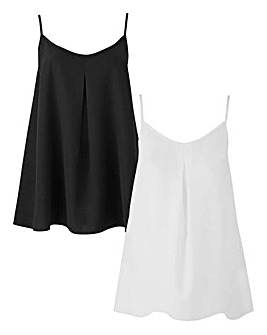 Ivory/Black 2 Pack Basic Cami Tops