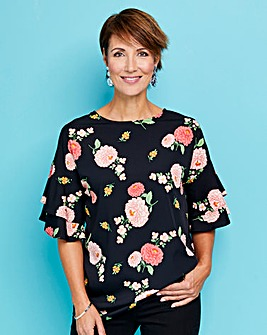 Black Floral Frill Sleeve Shell Top
