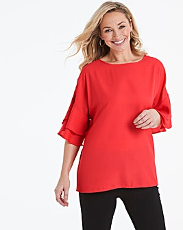 Coral Frill Sleeve Shell Top