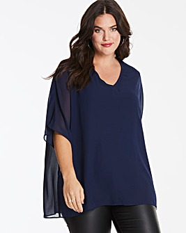 Navy V-Neck Top with Jersey Lining