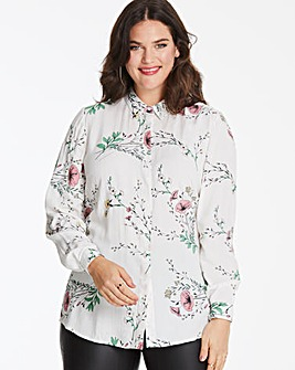 Ivory Floral Printed Viscose Shirt