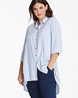 Blue Stripe High Low Hem Shirt