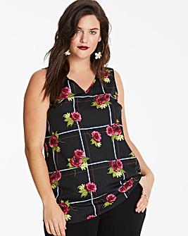 Floral Check V-Neck Vest