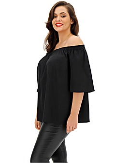 Black 3/4 Sleeve Bardot Top