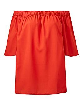 Orange 3/4 Sleeve Bardot Top