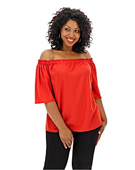 Orange 3/4 Sleeve Bardot Top