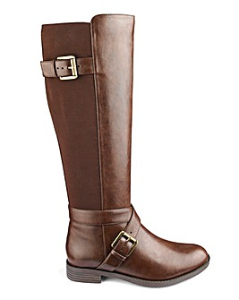 Buckle Detail High Leg Boots Wide E Fit Curvy Calf