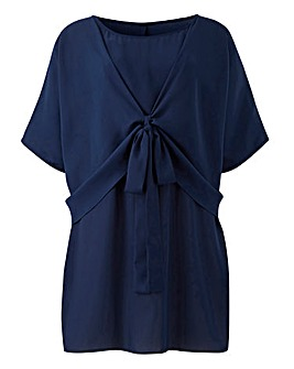 Navy Tie Detail Wrap Blouse