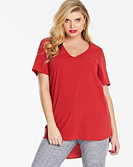 Burnt Orange V-Neck Stepped Hem Blouse