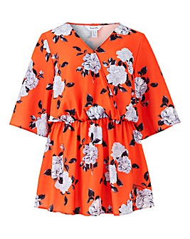 Orange Floral Short Sleeve Wrap Top