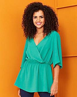 Green Short Sleeve Wrap Top