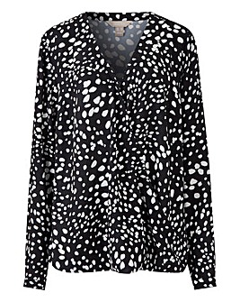 Mono Spot Long Sleeve Wrap Blouse