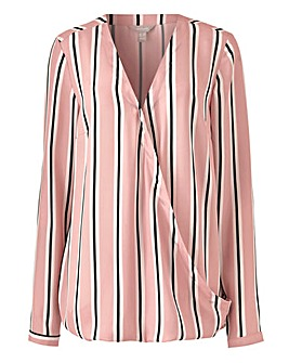 Pink Stripe Long Sleeve Wrap Blouse