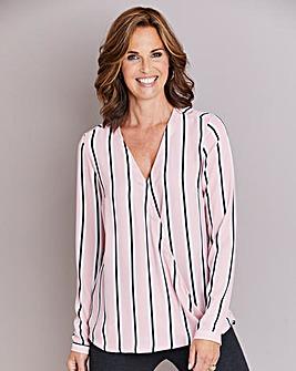 Pink Stripe Long Sleeve Wrap Blouse