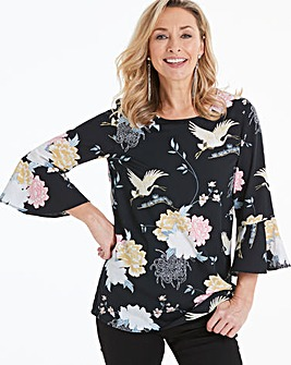 Black Floral Fluted Sleeve Blouse