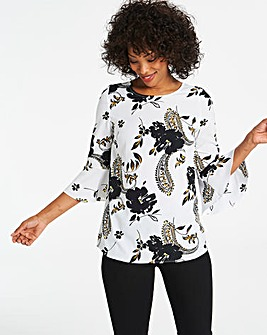 Ivory Print Fluted Sleeve Blouse