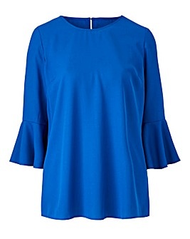 Cobalt Fluted Sleeve Blouse