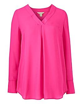 Pink V-Neck Smart Blouse