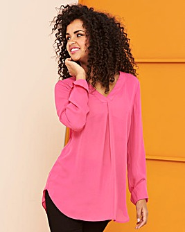 Pink V-Neck Smart Blouse