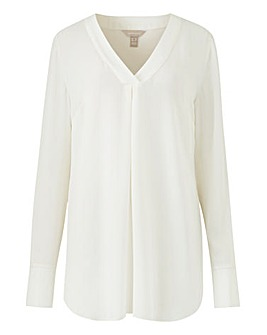 Ivory V-Neck Smart Blouse