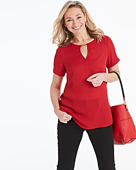 Red Cutout Neck Blouse