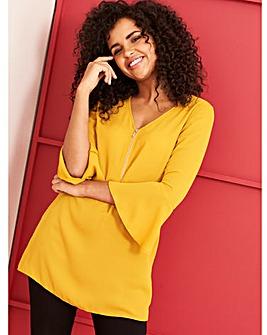 Saffron Zip Front Blouse