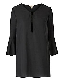 Black Zip Front Blouse