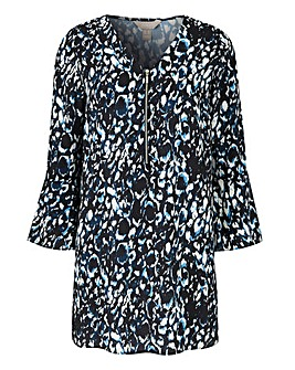 Blue Animal Print Zip Front Blouse