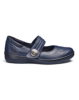 Padders Touch and Close Leather Bar Shoes Wide E Fit