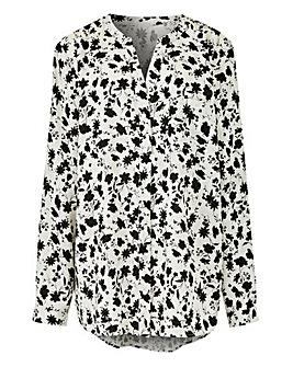 Ivory Print Collarless Viscose Shirt